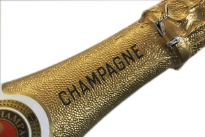 Champagne neck on white background
