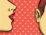 woman gossip retro illustration, polka dots background